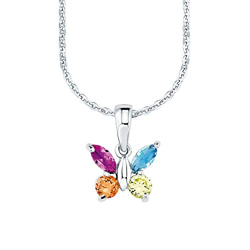 amor Kette mit Anhänger für Mädchen längenverstellbar mit Anhänger Schmetterling 925 Sterling Silber