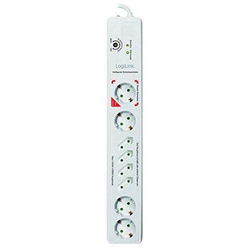 LogiLink LPS301 LPS 301-Steckdosenleiste Master/Slave, 8-Fach mit eingebautem Shutter und Überspannungsschutz, 1.4m, 1 Stück, weiß, 2250 W, 230 V