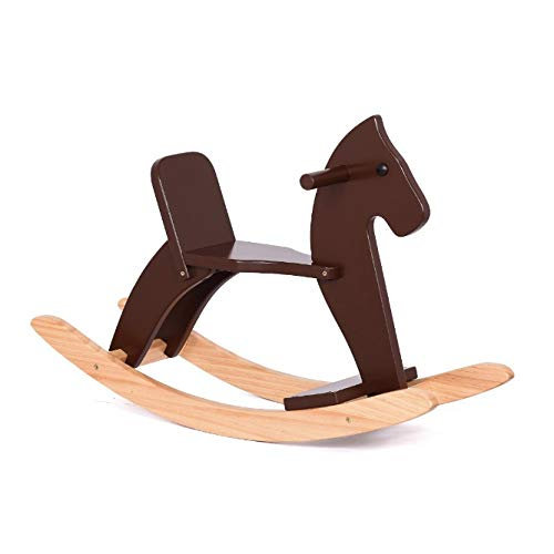 NXYJD Pure Solid Wood Children's Trojan Baby Rocking Horse Wooden Rocking Chair Baby Rocking Horse Trolley Toy Gift