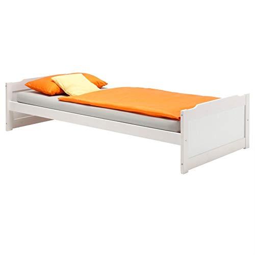 IDIMEX Lit en pin Massif Fritz lit pour Enfant 90 x 200 cm, lasuré Blanc