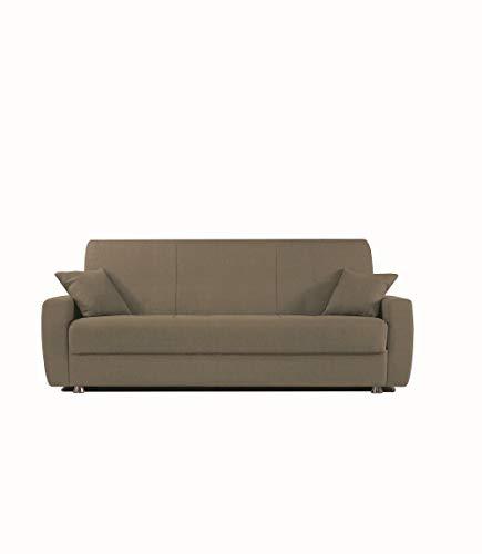 Alfa Sofa Divano Due posti con meccanismo a clic clac (Apertura a Libro) e vano Contenitore Paros, 225x72x93cm (LxPxA) (Tessuto 01 - Colore 5 - Tortora)