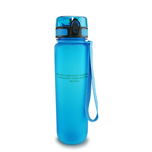 SMARDY Tritan Wasserflasche Trinkflasche blau - 1000ml - aus BPA-freiem Kunststoff - einfach zu öffnen - umweltfreundlich