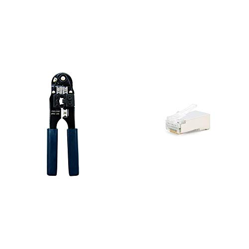 Nano Cable 10.31.0101 Tenaza metálica de crimpar + 10.21.0103 Conector para Cable de Red Ethernet RJ45, 8 Hilos Cat.5e FTP, Bolsa de 10 Unidades
