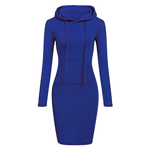 YEBIRAL Damen Herbst Winter Hoodie Kleid Langarm Pulloverkleid Kapuzenkleid Lässig Einfarbig Sweatshirt Enges Kleid(S,Blau)