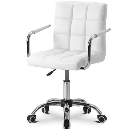 KZKR - Silla de oficina giratoria con ruedas giratorias de piel sintética ajustable en altura para escritorio, salón, dormitorio, estudio, color blanco