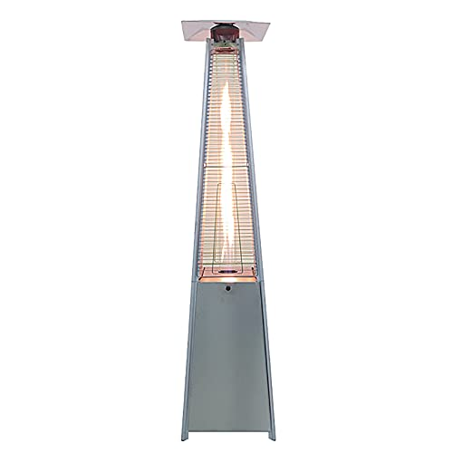 Garden Pyramid Gas Heater Real Flame 5-13KW Standing Patio Heater 225cm Tall Stainless Steel With Wheels Grey Silver Outdoor Heater Adjustable Heat Control