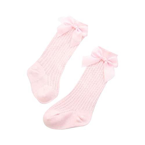 YWLINK Calcetines Largos De NiñA Medias De Encaje para Bebé ReciéN Nacida 0-3 AñOs Calcetines De AlgodóN De Color SóLido con Lazo Y Estilo Princesa Lindo,Calcetines De Tubo Fino (Rosa, M)