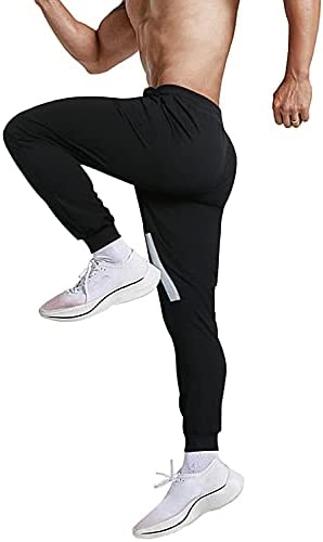 BOJIN Mens Joggers Sweatpants Tapered Cotton Workout Pants with Zipper Pockets