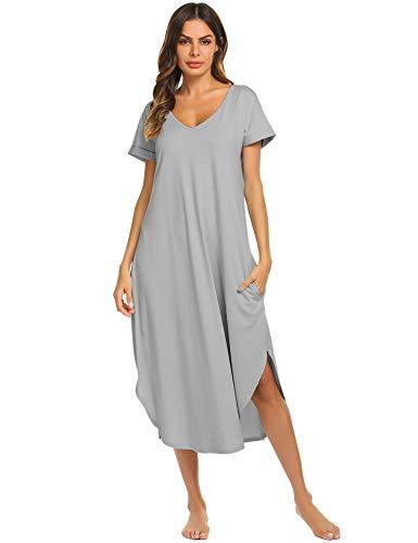 Ekouaer Sleepwear Womens V Neck Nightshirt Casual Loungewear Short Sleeve Long Nightgown,Misty Grey,X-Large