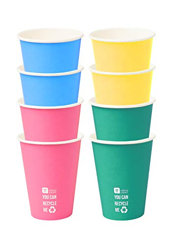 Talking Tables-De 8 gobelets en Papier Couleur Arc-en-Ciel | Emballage Recyclable, jetable et biodégradable pour la Maison | Fournitures de fête écologiques pour Anniversaire, Barbecue, Jardin, fierté