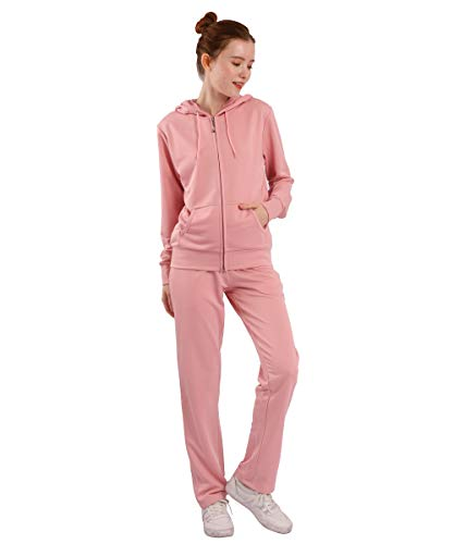 Tracksuit Sets for Women 2 Piece Lightweight French Terry Sweatsuit Casual Zip Up Hoodie and Sweatpant Jogging Suit Set Pink Large