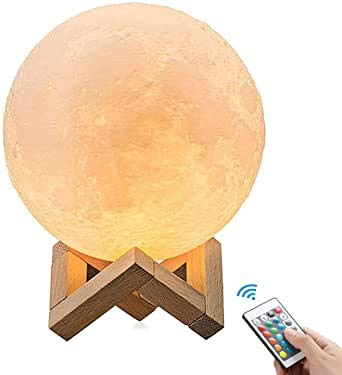 OxyLED Moon Lamp, 16 Colors 7.1 Inch 3D Print LED Moon Light with Stand Remote Touch Tap Control and USB Rechargeable, Night Light Dimmable for Kids Lover Friends Birthday Christmas Gifts