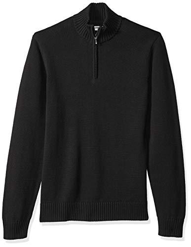 Marchio Amazon — Goodthreads, maglione da uomo, in morbido cotone, con cerniera 1/4, Nero (solid black Blk), US S (EU S)