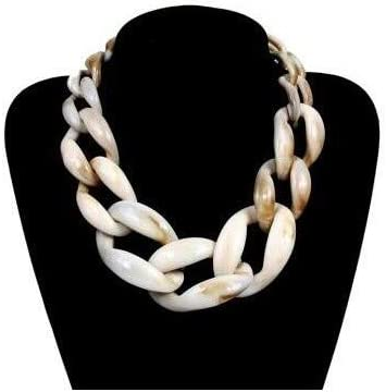 Moonnight Store Punk Acrylic Chunky Chain Choker Necklace Statement Long Chain Link Big Pendants Necklaces 2019 Fashion Women Jewelry (Beige as photo)