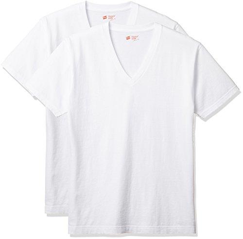 (ヘインズ) Hanes Tシャツ ジャパンフィット Vネック 2枚組 (最新モデル) H5115 010 ホワイト L