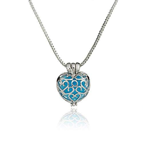 Collar de difusor de Aceite Esencial Medallones de corazón Hueco Colgante de aromaterapia Collar con Bolas de inserción Joyería de Perfume (PandaMfee)