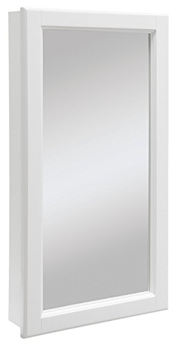 Design House 545111 Wyndham White Semi-Gloss Medicine Cabinet Mirror with 1-Door and 2-Shelves, 16-Inches Wide by 30-Inches Tall by 4.75-Inches Deep (Surface Mount Medicine Cabinet With Mirror And Lights)