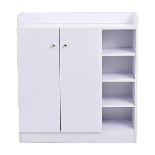 EGLEMTEK SCHRANK White - Credenza Mobiletto Multiuso 4 Ripiani, Scarpiera in Legno Armadio Entrata Corridoio 83 x 30 x 90 cm (Colore Bianco)