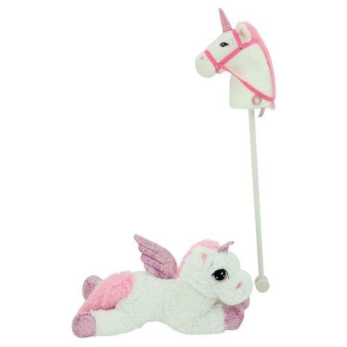Sweety Toys 11018 Set Steckenpferd Einhorn & Einhorn Plüschtier 65 cm Weiss