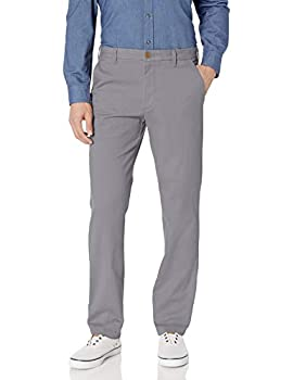 IZOD Men s Performance Stretch Straight Fit Flat Front Chino Pant Smoked Pearl 34W x 30L