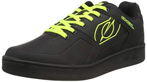 O'NEAL | Zapatillas de Bicicleta | MTB Downhill Freeride | Equilibrio Entre Agarre y posición del pie, Suela de Panal | Zapato de Pedal Plano con Clavos | Adultos | Negro Neón Amarillo | Talla 45