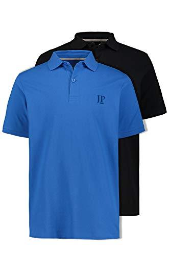 JP 1880 Herren große Größen bis 7XL, Poloshirts, 2er-Pack, Piqué, Seitenschlitze, Regular Fit, Azur, schwarz L 704317 78-L