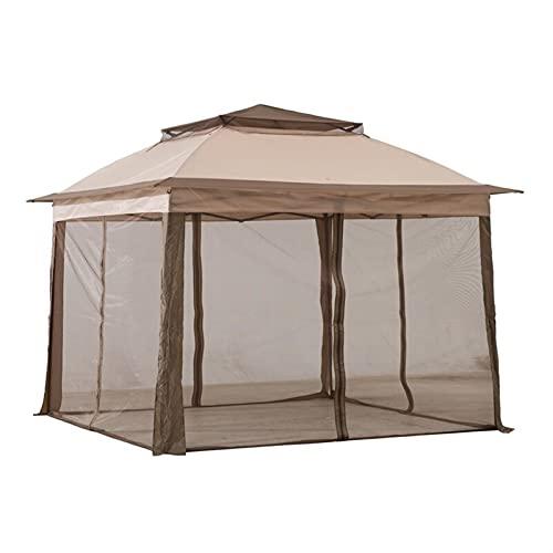paritariny Gazebo, 11 ft.W x 11 ft.D Acciaio Pop-up Gazebo Impermeabile per Patio Esterno Garden Lounge Mobili per Il Tempo Libero Gazebo Tenda a baldacchino (Color : Grey)