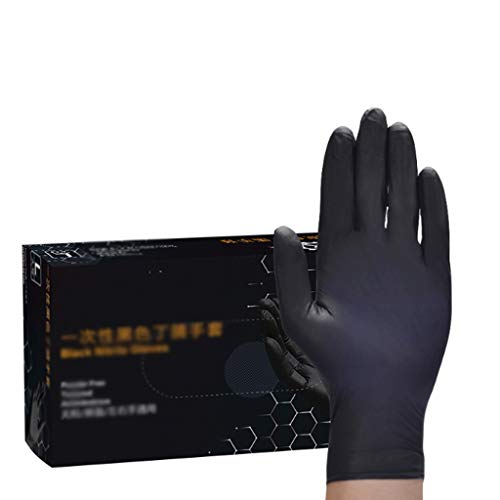 100 pièces Gants en latex noir à usage unique for la maison Nettoyage médical/Nourriture/caoutchouc/Gants de jardin for Universal gauche et main droite (Color : Black, Taille : L)