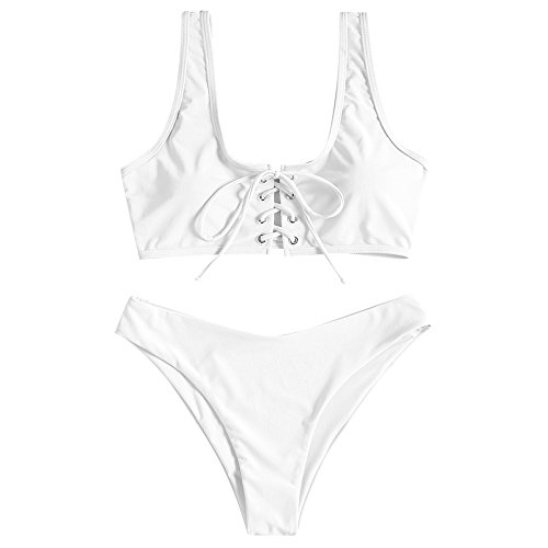 ZAFUL Damen Schnürung Sport Bikini mit U-Ausschnitt Sommer Beachwear Badeanzug Swimwear(Weiß S)