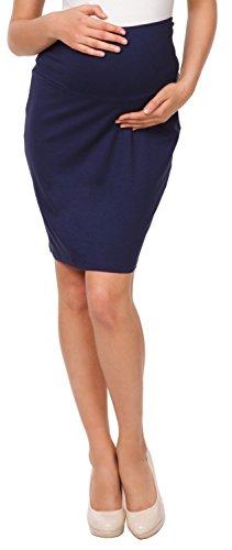Happy Mama. Maternidad premama falda de tubo midi banda elástica embarazo. 066p (Armada, EU 38, M)