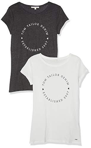 TOM TAILOR Denim Damen T-Shirt Doppelpack Rundhals, 10522-Shale Grey Melange, XS