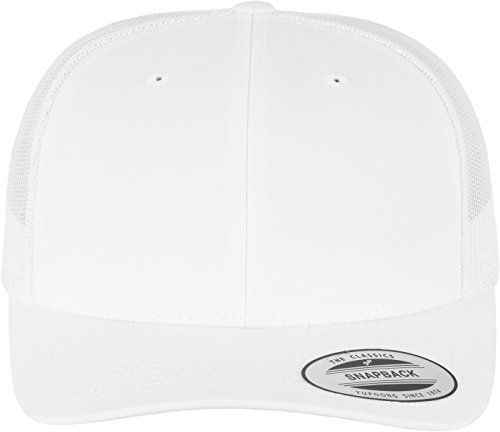 Flexfit Snapback Unisex Baseball-Mütze | Trucker Kappe Mesh Basecap, Weiß (white), Gr. One size