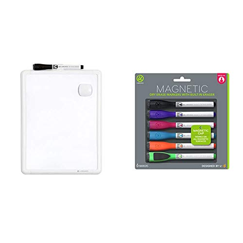 U Brands Contempo Magnetic Dry Erase Board, 8.5 x 11 Inches, White Frame, Magnet and Marker Included & Low Odor Magnetic Dry Erase Markers with Erasers, Medium Point, Assorted Colors, 6-Count
