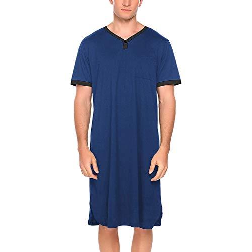 ZYX Camisas de Dormir para Hombre Mangas Cortas Ropa de Dormir Suave y Cómoda Camisón Liso Pijama 2 Estilo (Color : Style2-Blue, Size : XX-Large)