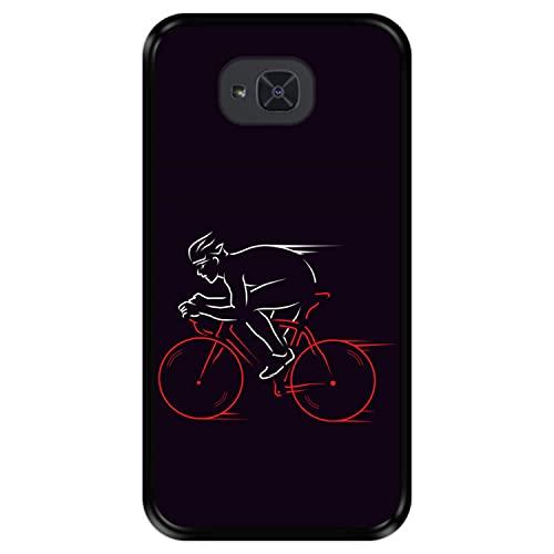 Hapdey Funda Negra para [ Bq Aquaris U2 - U2 Lite ] diseño [ Atleta, Ciclista en Bicicleta ] Carcasa Silicona Flexible TPU