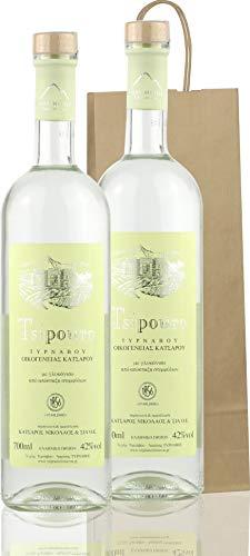 Premium Tsipouro mit Anis aus Griechenland | Geschenk Tasche | 2x 700ml Glas Flaschen