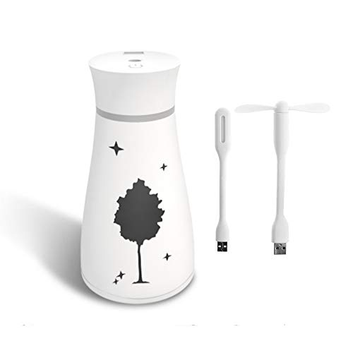 Tiamu Maple Leaf - Humidificador, purificador de aire USB con ventilador LED y difusor térmico para el hogar, la oficina, el dormitorio, el bebé, el escritorio