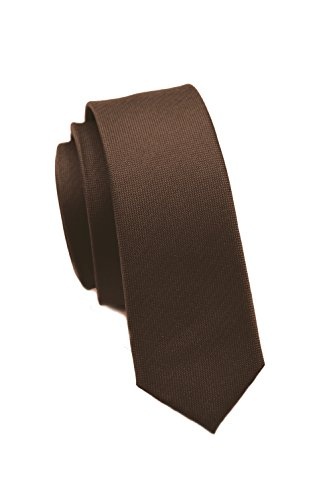 extra schmale Krawatte│4 cm super skinny Tie, Schlips, Binder, Herrenkrawatte │100% hochwertige Seide │ uni, einfarbig: Blau, Rosa, Rot, Schwarz, Grün, Orange, Gelb, Lachsfarben u.v.w. (Braun)