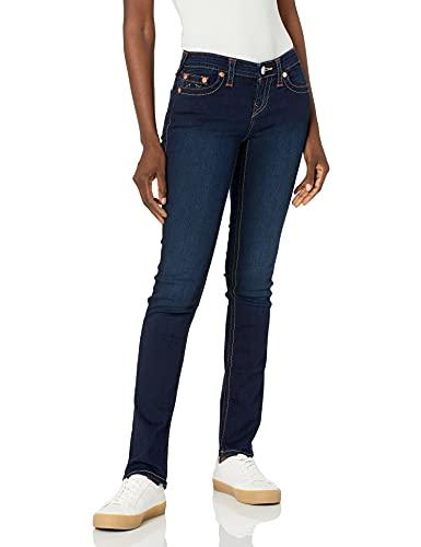 True Religion Women's Billie Mid Rise Straight Leg Rinse Jean, Minimal Abrasion, 29