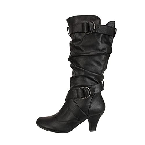 YWLINK Mujer CóModo TacóN Medio Botas Plisada Mujer Botas Largas De Gamuza Casual Tacones Aguja Altos Zapatos OtoñO Invierno Retro Botas Altas Calentar Moda Negra Botas Con Hebilla (Negro, 39)
