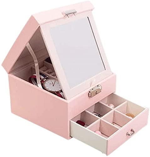 Caja de escritorio, caja de exhibición de joyas, con espejo y cerradura con cajones, para boda, cumpleaños, año nuevo, navidad, banquete