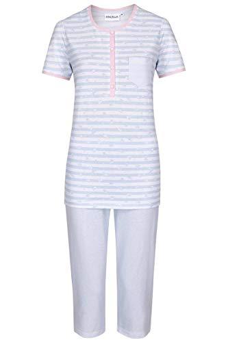 Ringella Damen Pyjama mit Caprihose bleu 42 0211231, bleu, 42