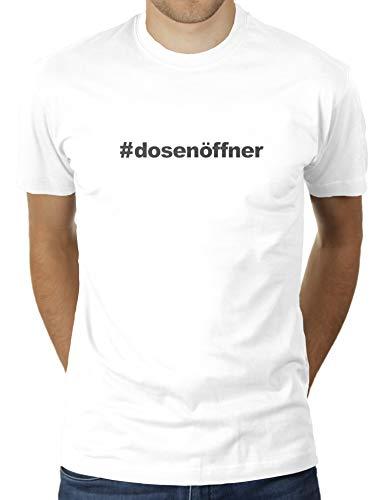 KaterLikoli Hashtag Apriscatole – # Apriscatole – Maglietta da uomo bianco S