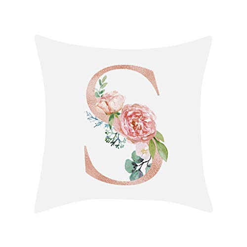 Gaddrt 26 Letter Alphabet Flower Pillow Case - Pillow Cushion Cover Square Pillowcase - 45cmx45cm - EASY TO WASH - Sofa Waist Bed Home Decor (S)