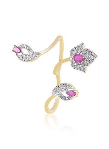 Fasherati doppio dito rosa anello di pietra per le donne