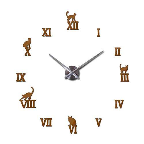 WDQTDY Hot Design Grote Decoratieve Wandklokken Korte Ontwerp DIY Klokken Digitale Horloge Quartz Woonkamer 3D Kat Muurstickers, Chocolade