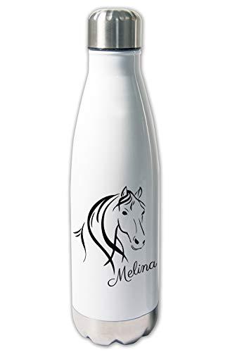 Werbetreff Gera Thermoskanne mit Name Pferd, Thermosflasche warm und kalt, Geschenk Reiten, Trinkflasche Reiterhof, Mädchen, Frauen