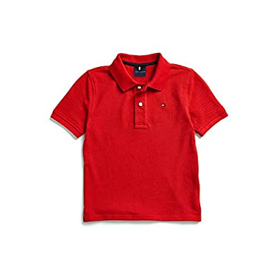 Tommy Hilfiger Boys' Adaptive Polo Shirt with Magnetic Buttons, Apple Red LG
