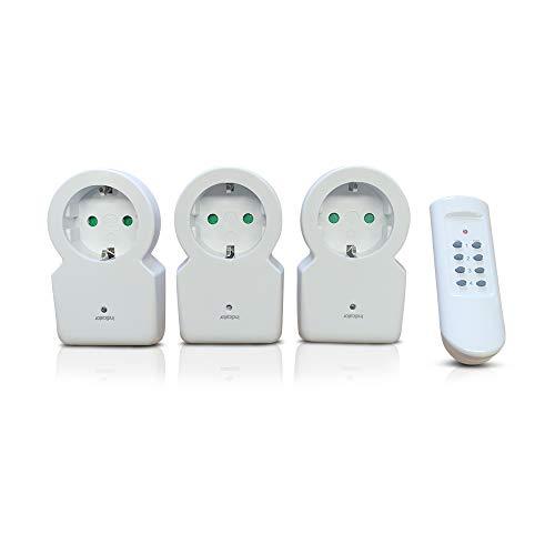 Juego de enchufes inalámbricos (1 transmisor/3 receptores con mando a distancia)