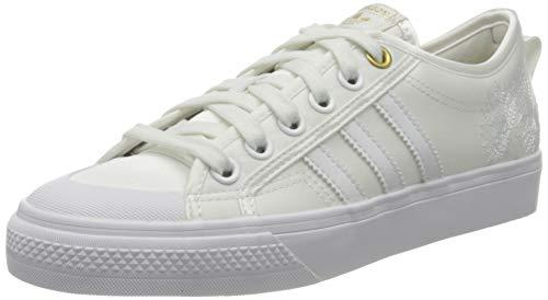 adidas Womens Nizza Sneaker, Crystal White/Footwear White/Gold Metallic, 39 1/3 EU